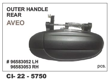 Outer Door Handle Chevrolet Aveo, Uva Rear-Left Hand Side (LHS) CI-5750L